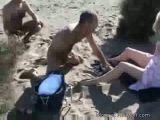 MILF gets swarmed at nudist beach