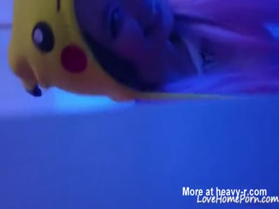Asian Beauty With A Pikachu Hat Enjoys Sucking