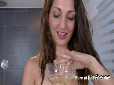 Dirty Girl Pissing And Drinking Her Urine