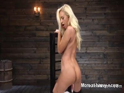 Teasing Blonde In Stockings