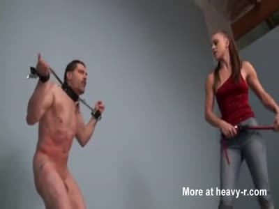 Sadistic Mistress Whipping Her Slave Hard
