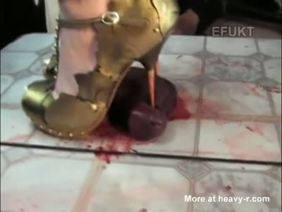 Brutal cock crush footjob with strappy high heels shoejob Part 4 7