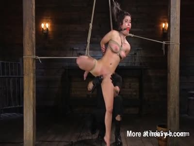 Hogtied Hottie Gets Ass Whipped