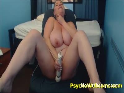 Huge Tits Babe Fucks Dildo