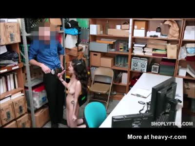Shoplifting brunette with nice tits forced to fuck