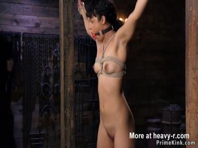 Ebony slave newbie whipped in bondage