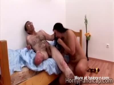 Blowjob For Handicapped Man