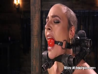 Bald Slave Gagged In Head Lock