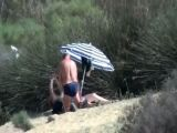Old mature couple having outdoor sex