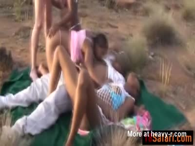 Two African In Outdoor Orgy
