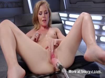 Small tits blonde gets machine doggy style