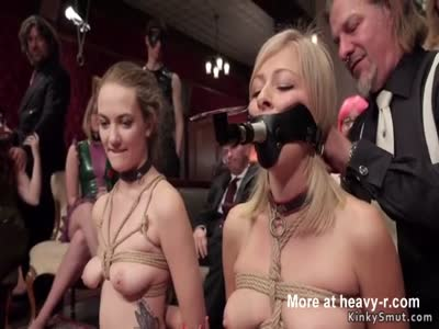 Blonde gets dp fuck in bondage orgy