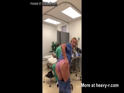 Naughty Nurse Masturbates While Patient Gets Operated