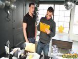 Topher Di Maggio and Trelino hard interracial gay anal sex