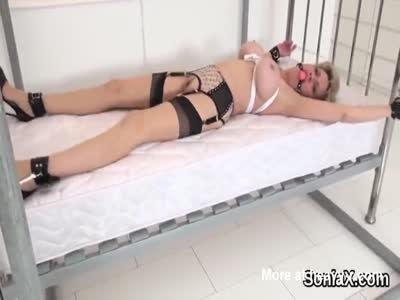MILF In Lingerie Tied To Bed