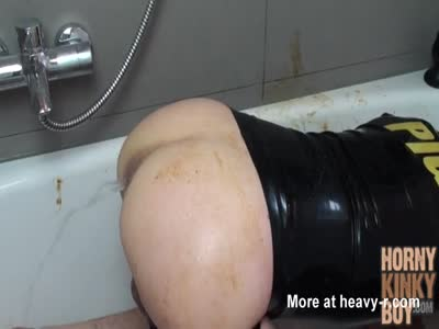Enema Slut into Wet and Dirty Toilet Sex