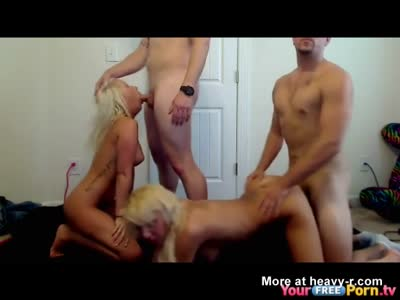 Foursome Fuckparty With Two Blondes