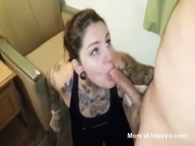 Tattooed Slut Sucking Dick Like A Pro