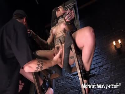 Inked Brunette Slave Toyed In BDSM