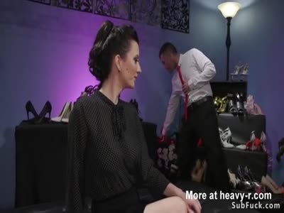 Hairy busty mistress anal bangs male