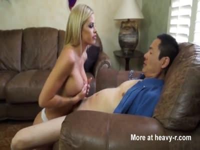 Blonde milf fucks asian man