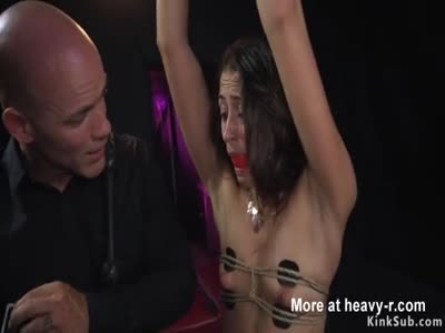 Small tits brunette throat fucked in bdsm