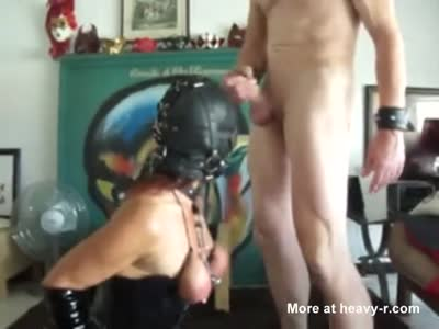 Cumming On Her Gag Ball Mask
