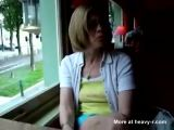 Mature flashes pussy in restaurant
