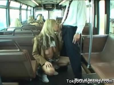 Schoolgirl Sucks Stranger in a Bus!