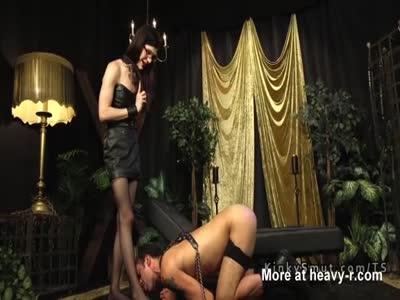 Tranny fucks deep throat male slave