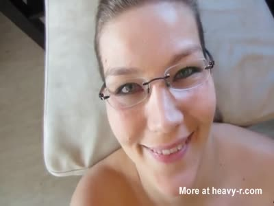 Massive Facial For Girl With Glasses