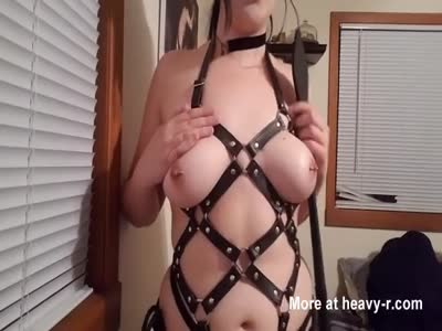 Gothic Teen Gagging On Dildo
