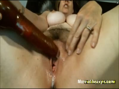 Busty Cougar Fucks Pussy In Closeup