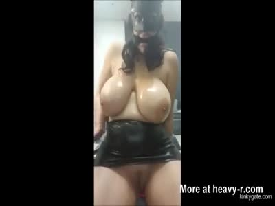 slave Gina shows melons and skills
