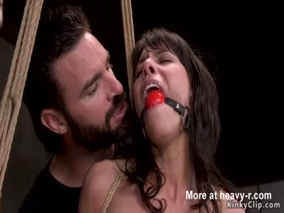 Skinny slave rough banged in bondage