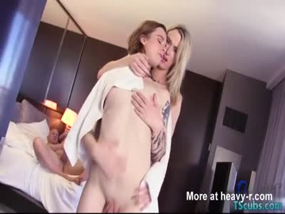 Hot shemale threesome with swallow