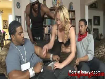 Nasty blonde babe double penetrated by huge black cocks