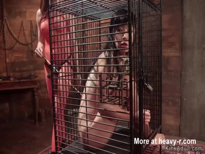 Locked Up Asian Slave Gets Dominated
