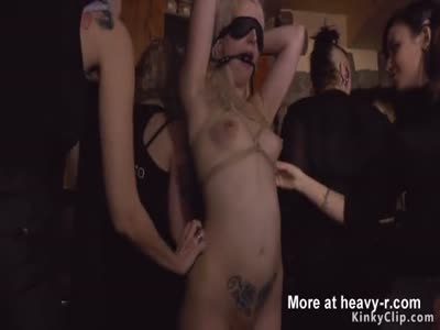 Blonde anal fucked in crowded public bar