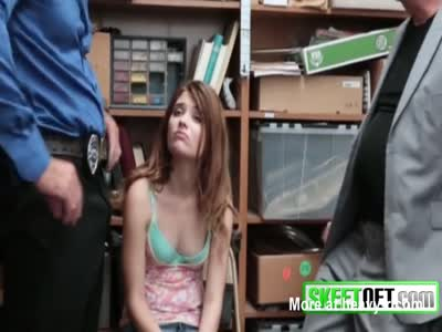 Kinky brunette teen gets her wet pussy banged in the office