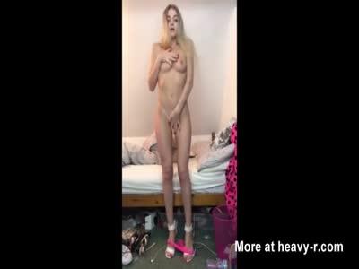 Blonde Teen Gives Striptease