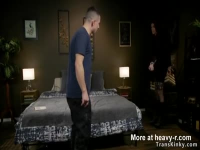 Shemale in fishnet fucks submissive guy