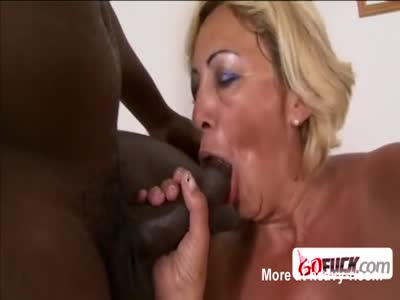 Blonde granny finally gets to suck a BBC