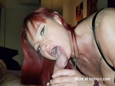 Redhead Giving Quick Blowjob