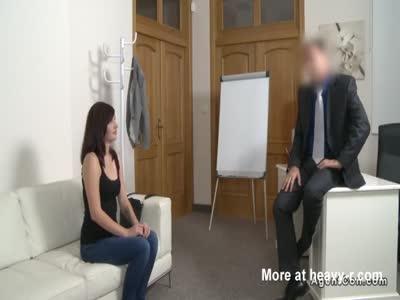 Small tits brunette fucks fake agent