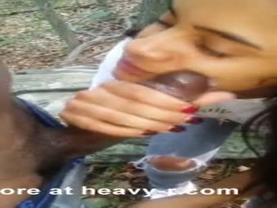 Latina Sucking Outdoor Black Cock For Facial