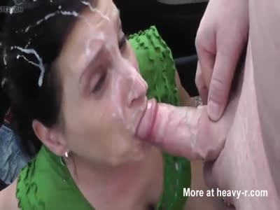 Brunette Gets Very Messy Facial