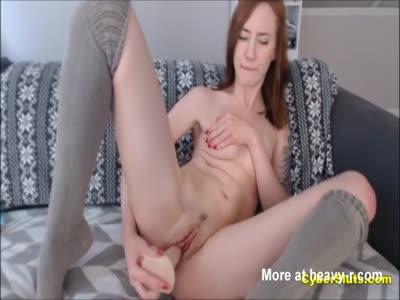 Cute Redhead in Bikini Masturbating