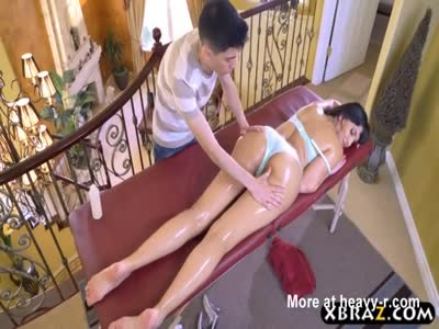 Oiled Up Latina Fucks Masseuse