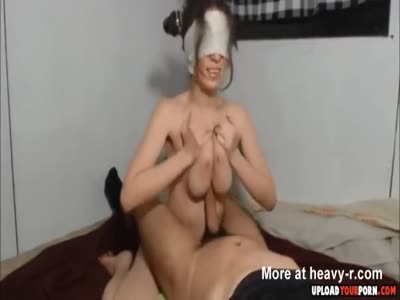 Girl Jerking Dick With Her Tits